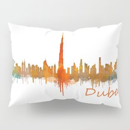 Dubai, emirates, City Cityscape Skyline watercolor art v2 Pillow Sham