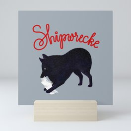 Shipwrecke (Gray and Red) Mini Art Print