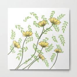 Daisy Wildflower Botanical Nature Pattern Metal Print