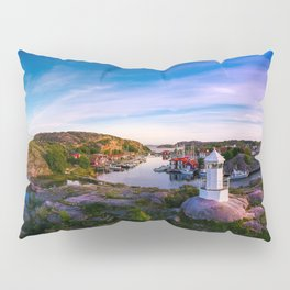 Sunset over old fishing port - Aerial Photography Pillow Sham