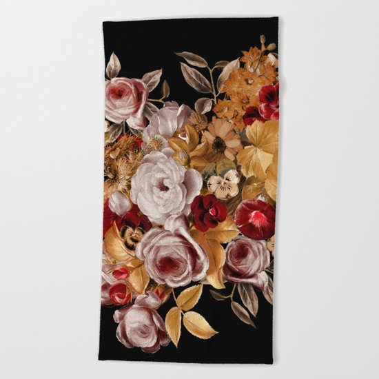 Watercolor Floral Pattern Beach Towel