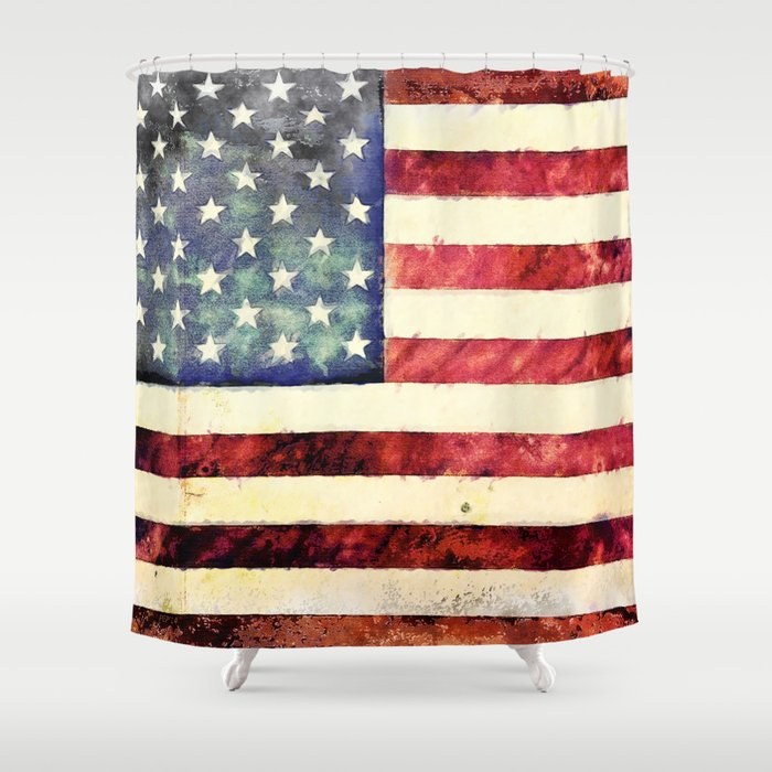 Vintage American Flag Shower Curtain by politics | Society6