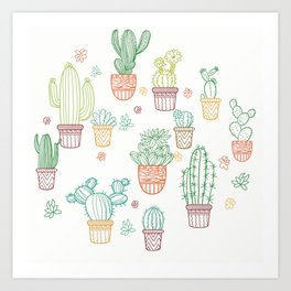 cheerful white cacti Art Print