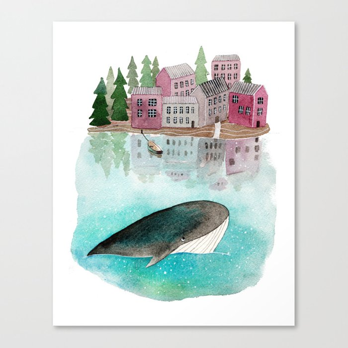 A whale is passing by Canvas Print