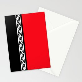 Greek Key 2 - Red and Black Stationery Cards