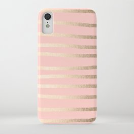 Abstract Drawn Stripes Gold Coral Light Pink iPhone Case