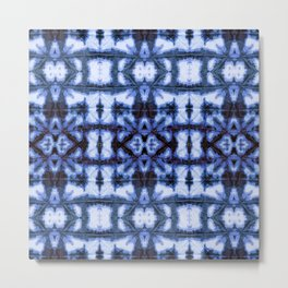 Blue Oxford Shibori Metal Print