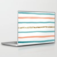 stripe Laptop & iPad Skins featuring Sparkle Stripe by Social Proper