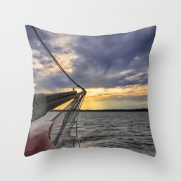 Sunset off the Bow Throw Pillow