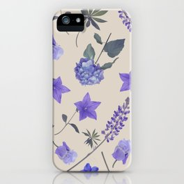 seamless   pattern of blue flowers . Endless texture iPhone Case