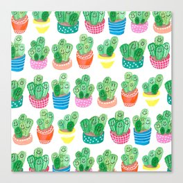 Cacti in fancy pots with smily faces. Canvas Print