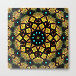 Bright Yellow Mosaic Symmetry Mandala Metal Print