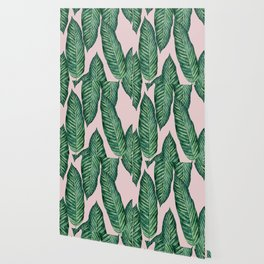 Green Banana Leaves Pink #society6 Wallpaper