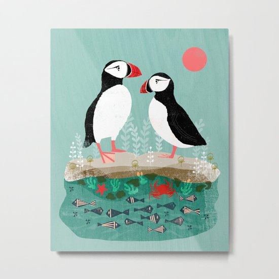Puffins - Bird Art, Shorebird, Sea bird, birds, Cute illustration by Andrea Lauren Metal Print