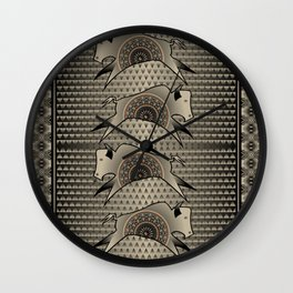 Buffalo Running (Gray) Wall Clock