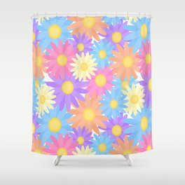Floral Daisy Dahlia Flower Shower Curtain