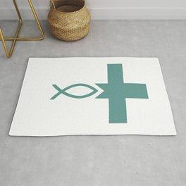Jesus Fish Cross Symbol of Christianity Rug