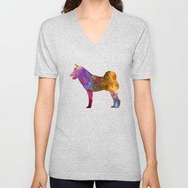 Shiba Inu dog in watercolor Unisex V-Neck