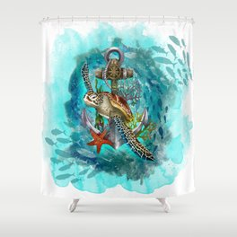 Turtle and Sea Shower Curtain
