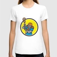 lacrosse T-shirts featuring Gorilla Lacrosse Player Circle Cartoon by patrimonio