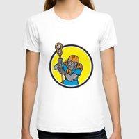 lacrosse T-shirts featuring Gorilla Lacrosse Player Circle Cartoon by patrimonio