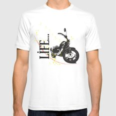 Motorcycle lifestyle  MEDIUM White Mens Fitted Tee