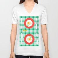 breakfast V-neck T-shirts featuring breakfast by vitamin