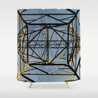 the wire Shower Curtains featuring Metal Wire by Lia Bernini