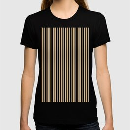Tan Brown and Black Vertical Var Size Stripes T-shirt