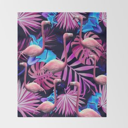 Flamingo tropfest Throw Blanket