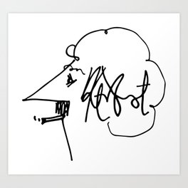 Vonnegut Self Portrait Artwork, Design for Wall Art, Prints, Posters, Tshirts, Bags, Women, Men, Kid Art Print