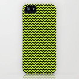 Mini Slime Green and Black Chevron Zig Zag Stripes iPhone Case