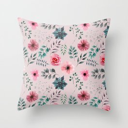 Grey and Pink Water Color Flowers and Leaves Pattern Throw Pillow