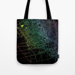 Kitchener, ON, Canada, City, Map, Rainbow, Map, Art, Print Tote Bag
