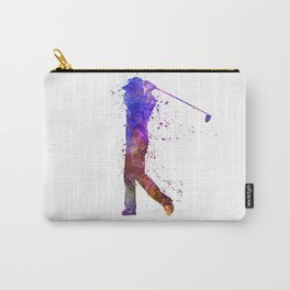 man golfer swing silhouette 01 Carry-All Pouch