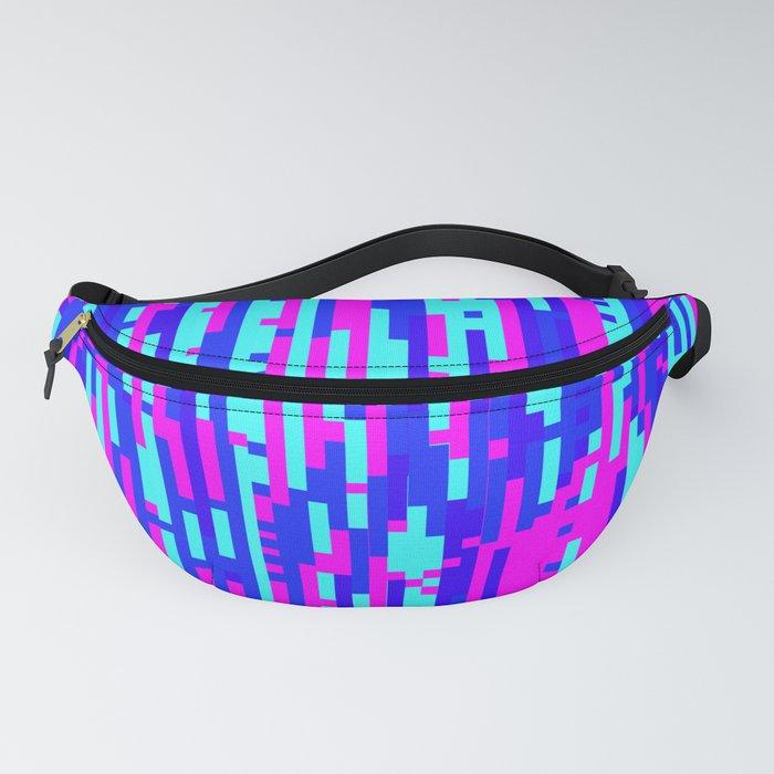 Cyber Wavy Digital Glitch Art Fanny Pack