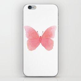 Watermelon pink butterfly iPhone Skin