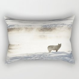 Yellowstone National Park - Wolf and Hot Spring Rectangular Pillow