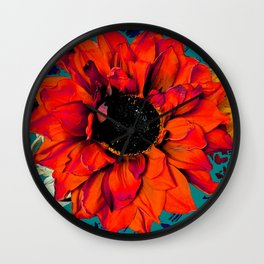 Orange Sunflower & Teal Contemporary Abstract Wall Clock