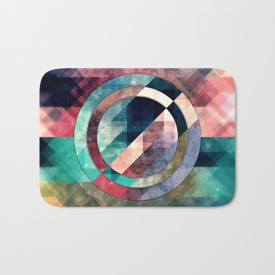 Colorful Grunge Geometric Abstract Bath Mat