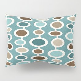 Mid Century Mushroom Clouds - Blue and Brown Earth Tones Pillow Sham