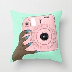 pink instax Throw Pillow