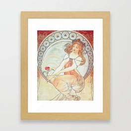 Painting by Alphonse Mucha 1898 // Retro Woman with a Flower Geometric Circle Abstract Framed Art Print