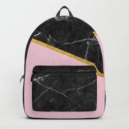 Black marble geometric gold leaf with pink Backpack