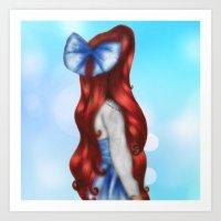 Ariel's Long Red Hair Art Print