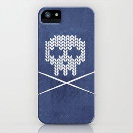 Knitted Skull - White on Navy Blue iPhone Case
