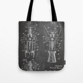 Cork Screw Patent - Wine Art - Black Chalkboard Tote Bag