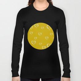 Polka Heart Party, Gold Long Sleeve T-shirt