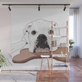 English Bulldog and Toy Wall Mural