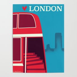 Love London vintage bus travel poster Poster